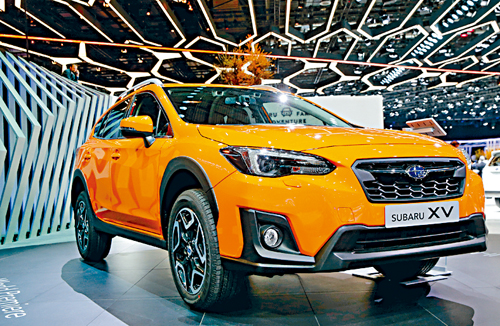 A Subaru XV AWD car is seen during the 87th International Motor Show at Palexpo in Geneva